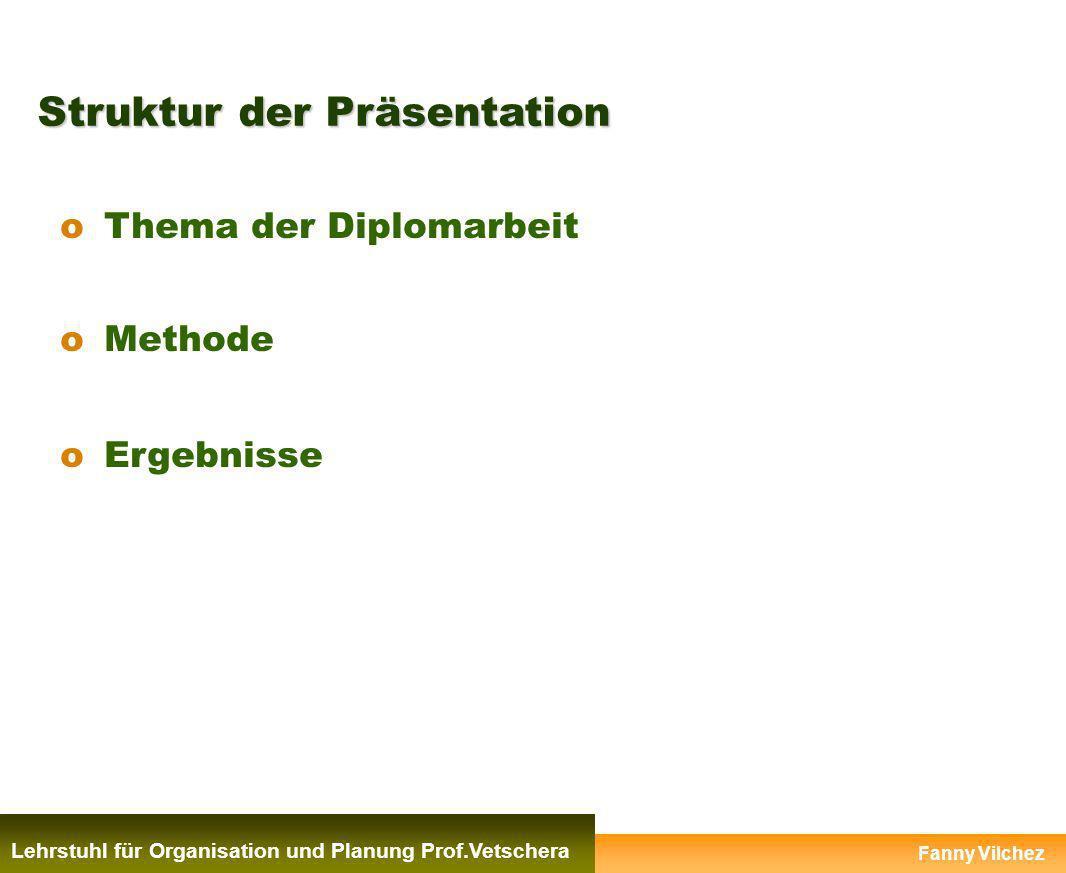 Struktur der Präsentation Lehrstuhl für Organistion und Planung Prof.Vetschera oThema der Diplomarbeit oMethode oErgebnisse Fanny Vilchez Lehrstuhl fü