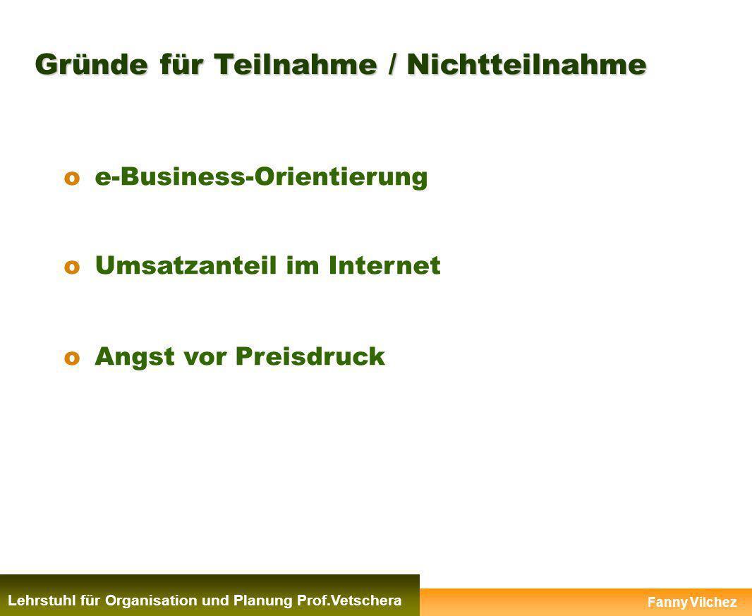 Gründe für Teilnahme / Nichtteilnahme oe-Business-Orientierung oUmsatzanteil im Internet oAngst vor Preisdruck Fanny Vilchez Lehrstuhl für Organisatio