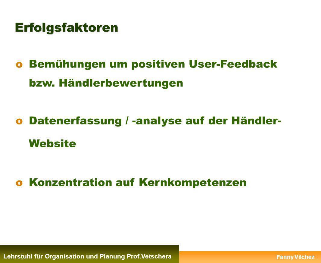 Erfolgsfaktoren Lehrstuhl für Organisation und Planung Prof.Vetschera oBemühungen um positiven User-Feedback bzw. Händlerbewertungen oDatenerfassung /