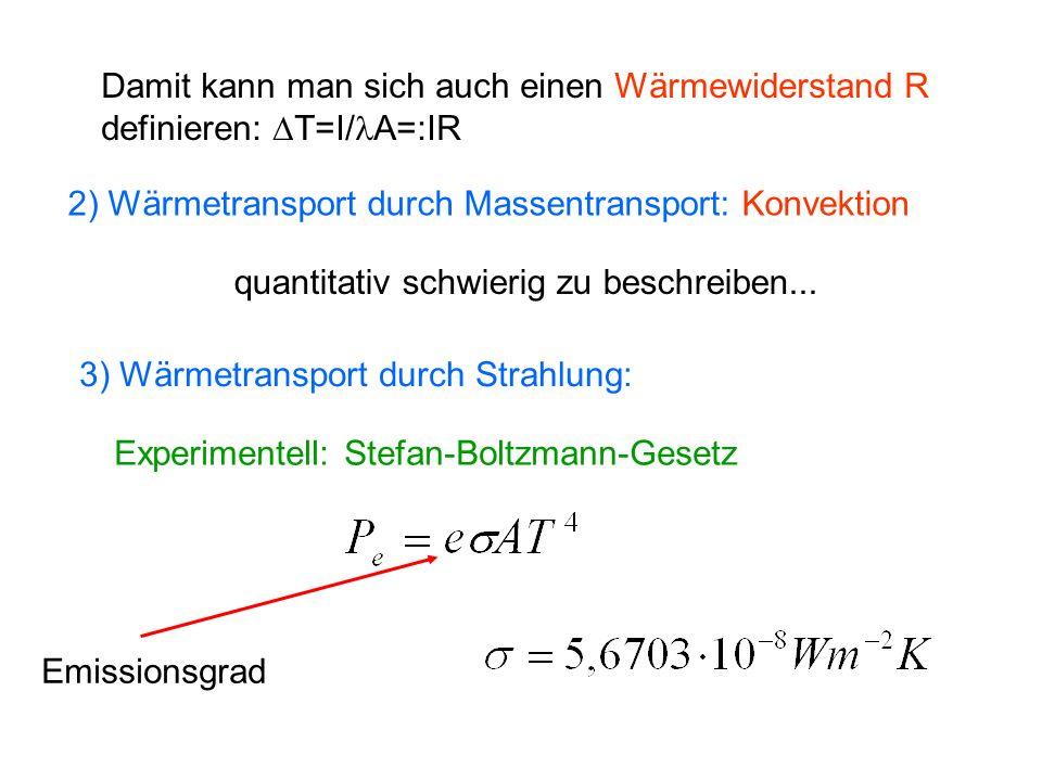 Damit kann man sich auch einen Wärmewiderstand R definieren: T=I/ A=:IR 2) Wärmetransport durch Massentransport: Konvektion quantitativ schwierig zu b