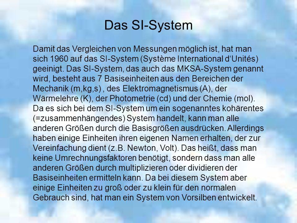 Das SI-System Damit das Vergleichen von Messungen möglich ist, hat man sich 1960 auf das SI-System (Système International dUnités) geeinigt. Das SI-Sy