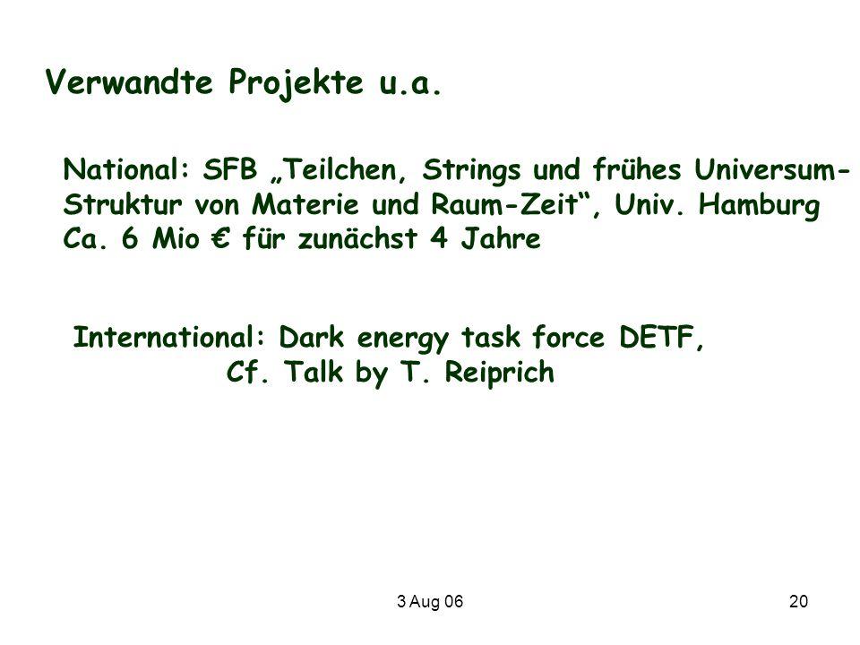 3 Aug 0620 Verwandte Projekte u.a. National: SFB Teilchen, Strings und frühes Universum- Struktur von Materie und Raum-Zeit, Univ. Hamburg Ca. 6 Mio f