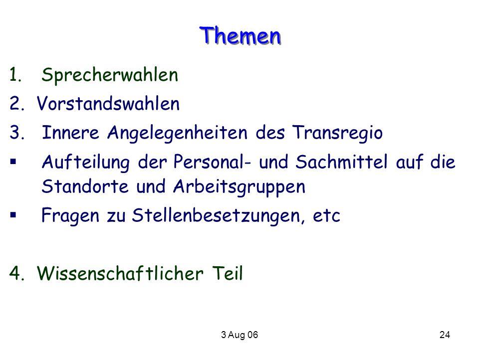 3 Aug 0624 Themen 1.Sprecherwahlen 2. Vorstandswahlen 3. Innere Angelegenheiten des Transregio Aufteilung der Personal- und Sachmittel auf die Standor
