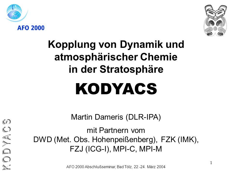 1 Kopplung von Dynamik und atmosphärischer Chemie in der Stratosphäre KODYACS Martin Dameris (DLR-IPA) mit Partnern vom DWD (Met. Obs. Hohenpeißenberg