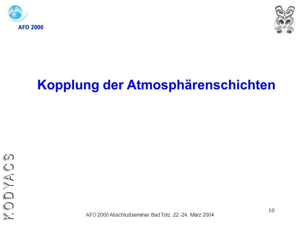 10 Kopplung der Atmosphärenschichten AFO 2000 Abschlußseminar, Bad Tölz, 22.-24. März 2004