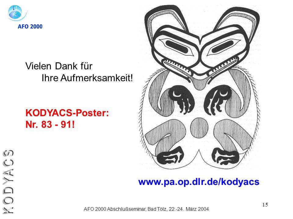 15 AFO 2000 Abschlußseminar, Bad Tölz, 22.-24. März 2004 Vielen Dank für Ihre Aufmerksamkeit! KODYACS-Poster: Nr. 83 - 91! www.pa.op.dlr.de/kodyacs