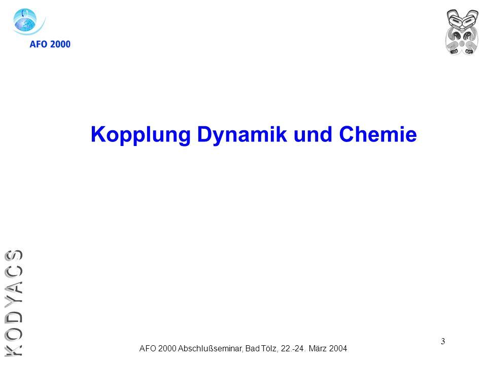 3 Kopplung Dynamik und Chemie AFO 2000 Abschlußseminar, Bad Tölz, 22.-24. März 2004