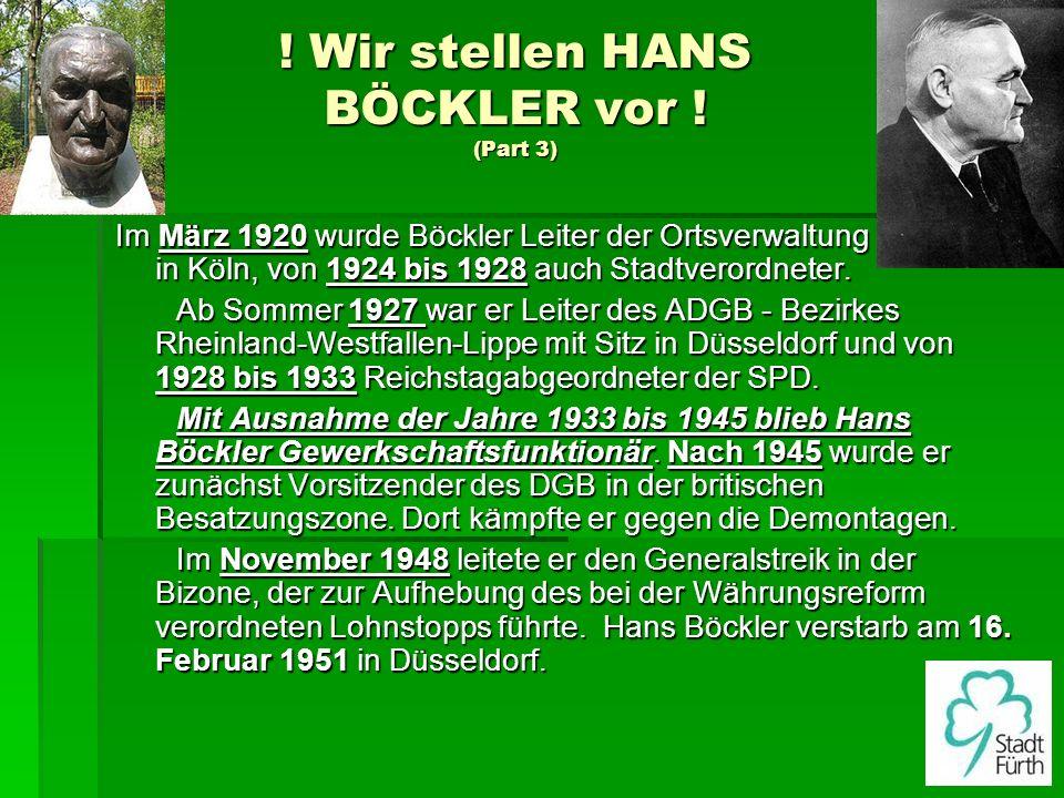 ! Wir stellen HANS BÖCKLER vor ! (Part 3) Im März 1920 wurde Böckler Leiter der Ortsverwaltung des DMV in Köln, von 1924 bis 1928 auch Stadtverordnete