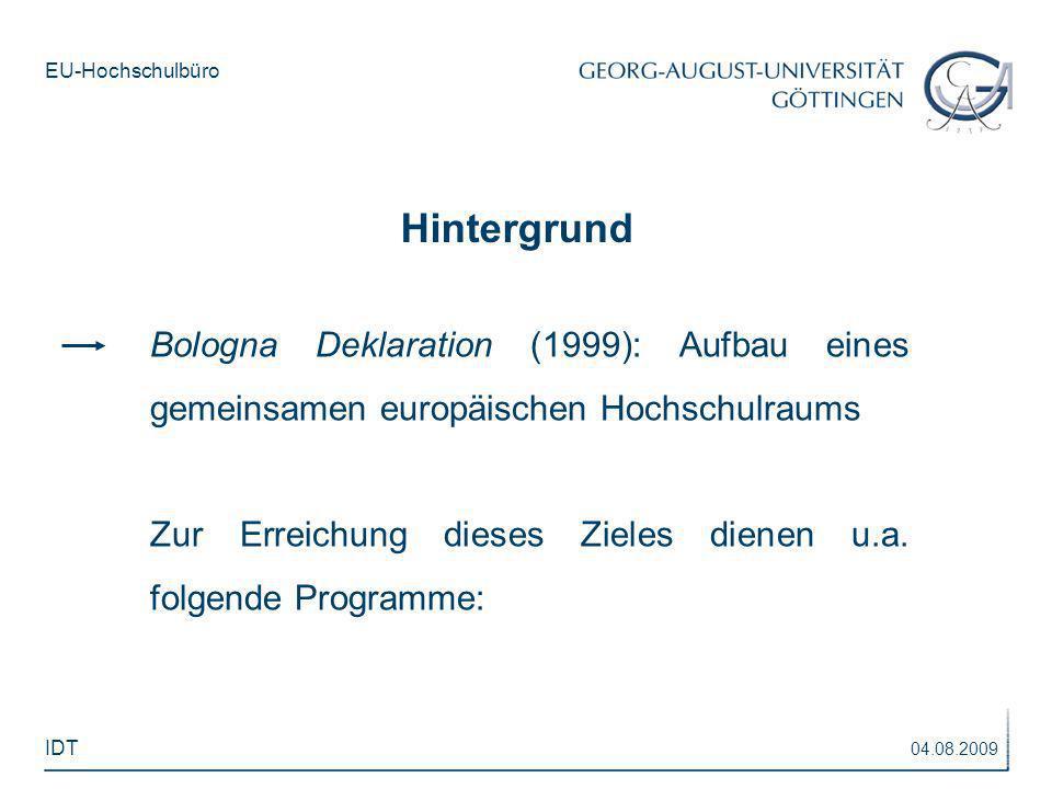 EU-Hochschulbüro Bologna Deklaration (1999): Aufbau eines gemeinsamen europäischen Hochschulraums Zur Erreichung dieses Zieles dienen u.a. folgende Pr