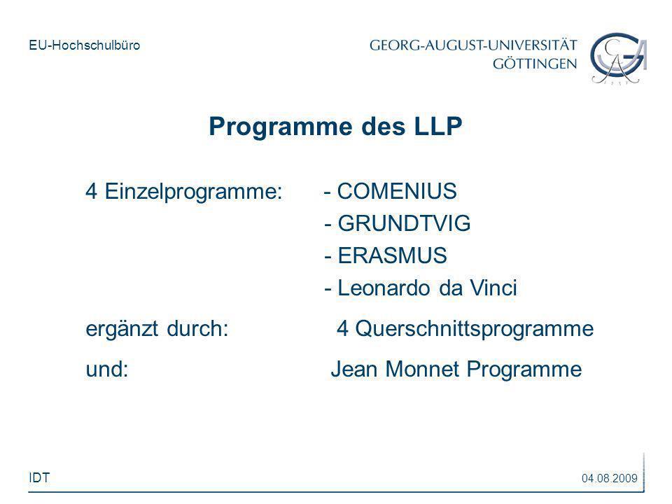 EU-Hochschulbüro 4 Einzelprogramme: - COMENIUS - GRUNDTVIG - ERASMUS - Leonardo da Vinci ergänzt durch: 4 Querschnittsprogramme und: Jean Monnet Progr