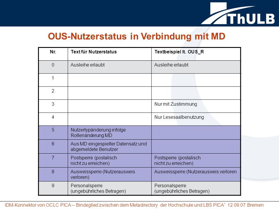 IDM-Konnektor von OCLC PICA – Bindeglied zwischen dem Metadirectory der Hochschule und LBS PICA 12.09.07 Bremen Nr.Text für NutzerstatusTextbeispiel l