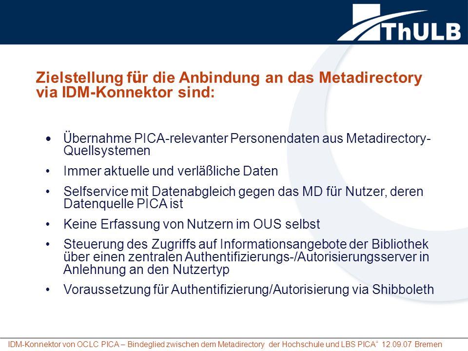 IDM-Konnektor von OCLC PICA – Bindeglied zwischen dem Metadirectory der Hochschule und LBS PICA 12.09.07 Bremen Zielstellung f ü r die Anbindung an da