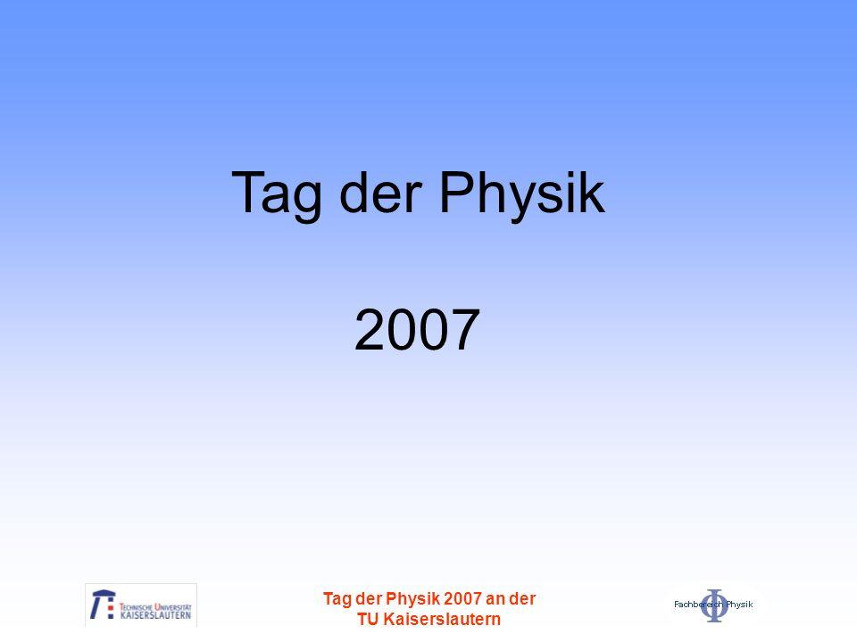 Tag der Physik 2007 an der TU Kaiserslautern Die engagierteste Schule Balthasar-Neumann-Technikum Trier 14 teilnehmende Teams, Herr Dusemund