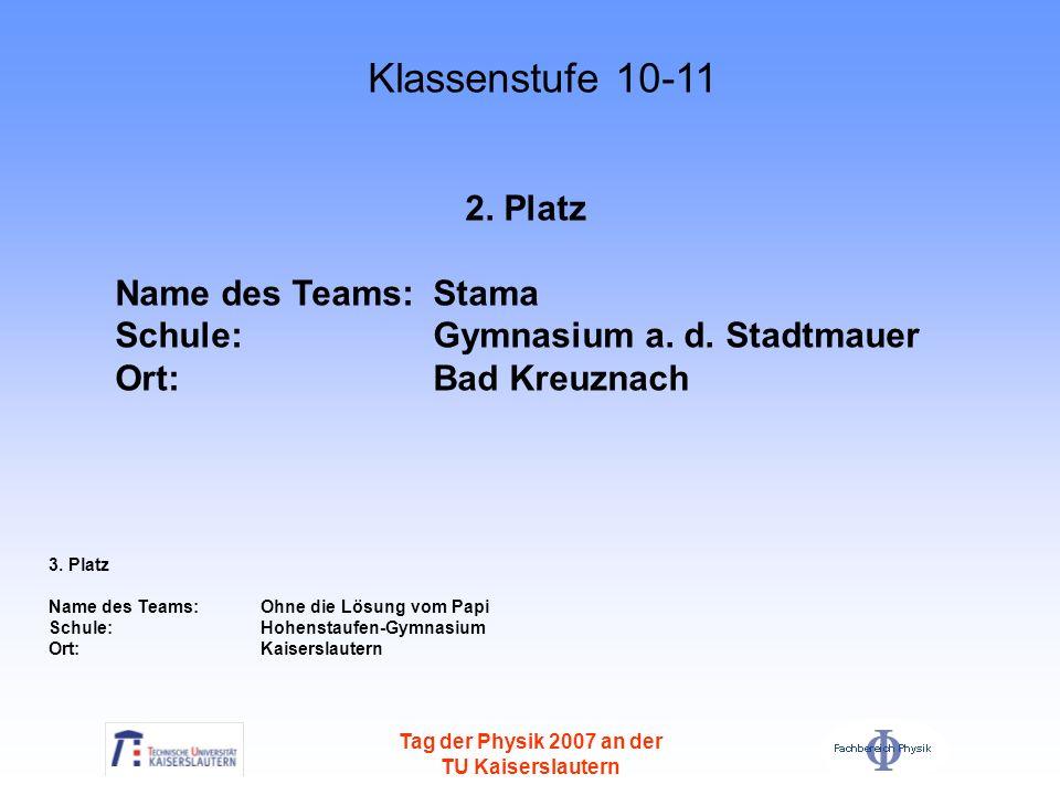 Tag der Physik 2007 an der TU Kaiserslautern 2. Platz Name des Teams: Stama Schule: Gymnasium a. d. Stadtmauer Ort: Bad Kreuznach 3. Platz Name des Te