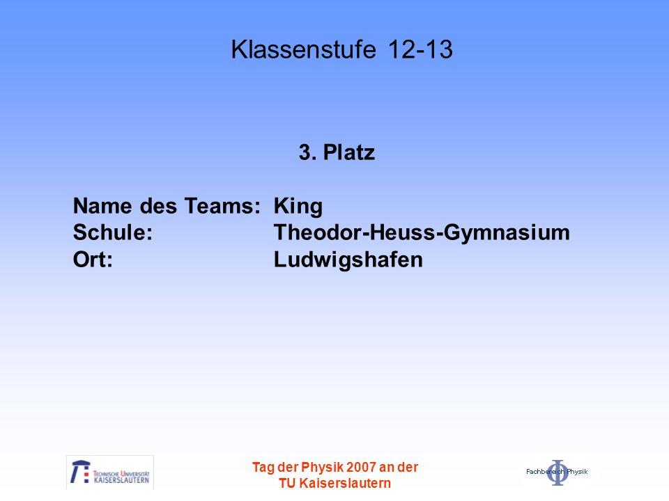 Tag der Physik 2007 an der TU Kaiserslautern 3. Platz Name des Teams: King Schule: Theodor-Heuss-Gymnasium Ort: Ludwigshafen Klassenstufe 12-13