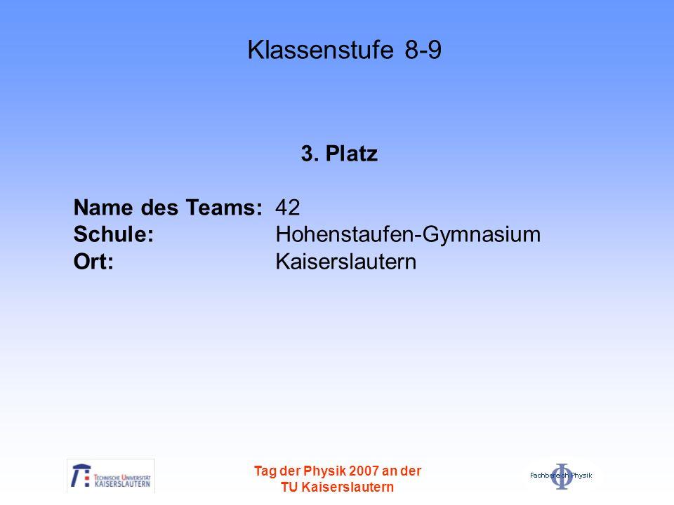 Tag der Physik 2007 an der TU Kaiserslautern 3. Platz Name des Teams: 42 Schule: Hohenstaufen-Gymnasium Ort: Kaiserslautern Klassenstufe 8-9