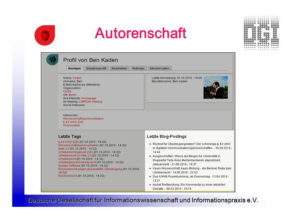 Deutsche Gesellschaft für Informationswissenschaft und Informationspraxis e.V. Autorenschaft