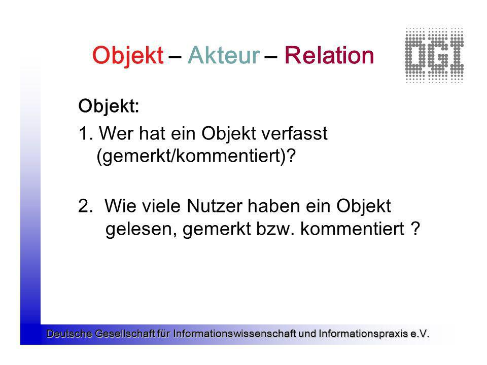 Deutsche Gesellschaft für Informationswissenschaft und Informationspraxis e.V. Objekt – Akteur – Relation Objekt: 1. Wer hat ein Objekt verfasst (geme
