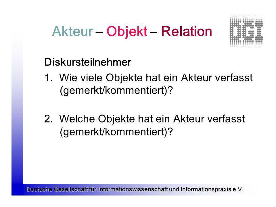 Deutsche Gesellschaft für Informationswissenschaft und Informationspraxis e.V. Akteur – Objekt – Relation Diskursteilnehmer 1. Wie viele Objekte hat e