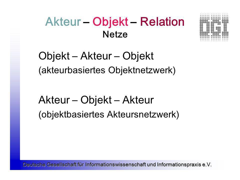 Deutsche Gesellschaft für Informationswissenschaft und Informationspraxis e.V. Akteur – Objekt – Relation Netze Objekt – Akteur – Objekt (akteurbasier