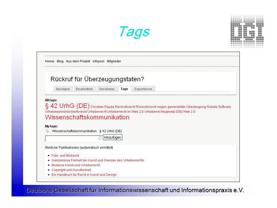Deutsche Gesellschaft für Informationswissenschaft und Informationspraxis e.V. Tags