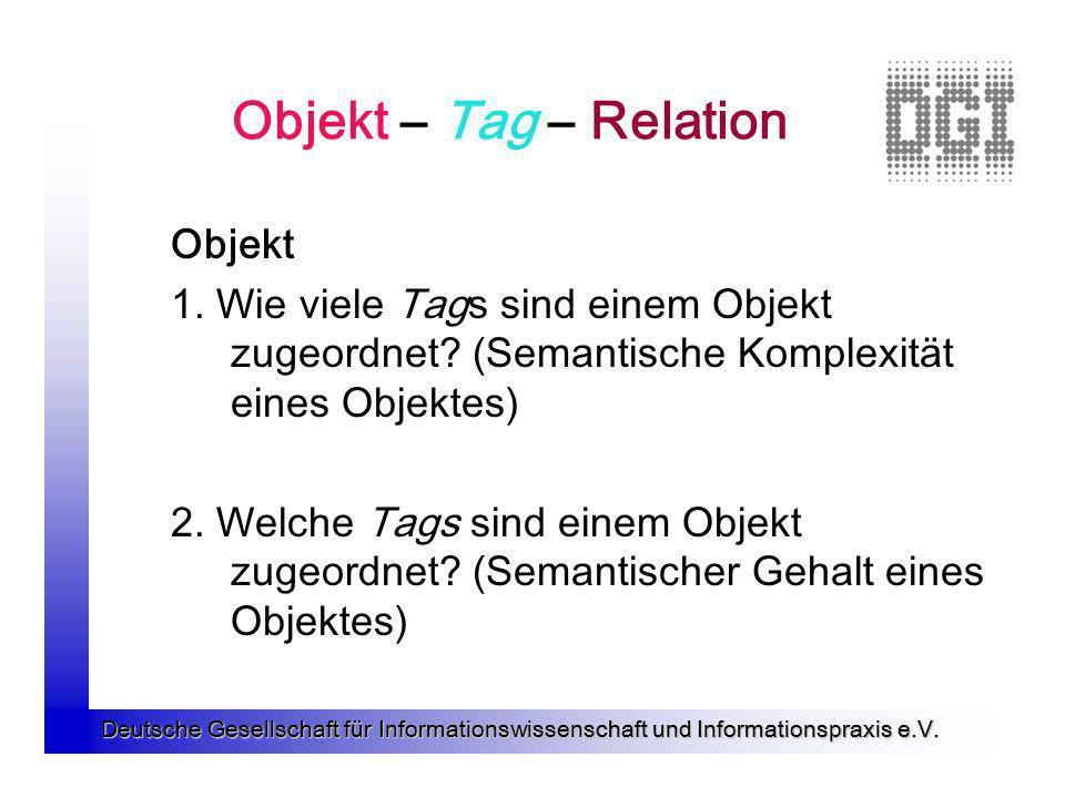 Deutsche Gesellschaft für Informationswissenschaft und Informationspraxis e.V. Objekt – Tag – Relation Objekt 1. Wie viele Tags sind einem Objekt zuge
