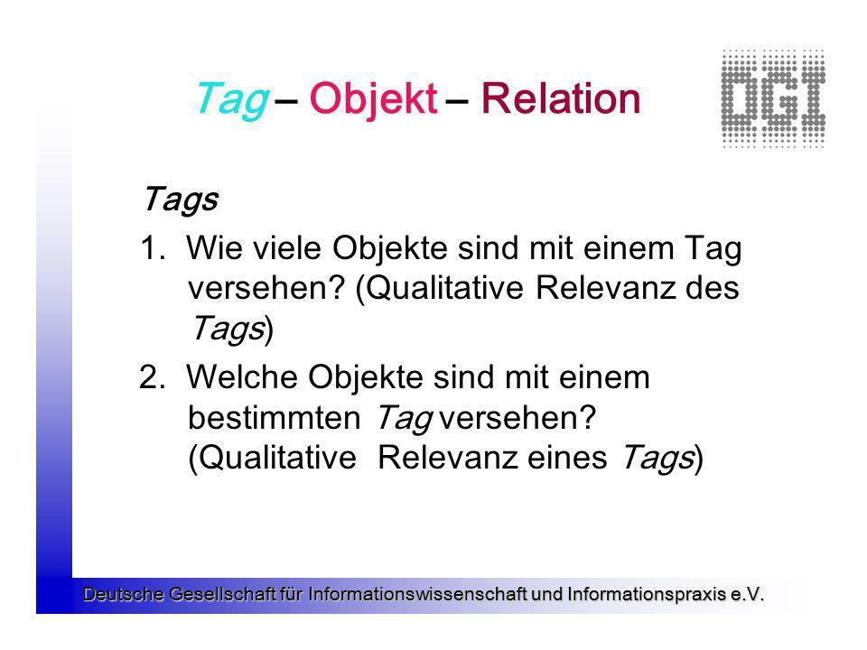Deutsche Gesellschaft für Informationswissenschaft und Informationspraxis e.V. Tag – Objekt – Relation Tags 1. Wie viele Objekte sind mit einem Tag ve