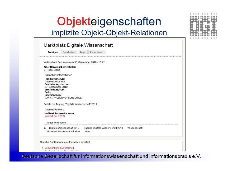 Deutsche Gesellschaft für Informationswissenschaft und Informationspraxis e.V. Objekteigenschaften implizite Objekt-Objekt-Relationen