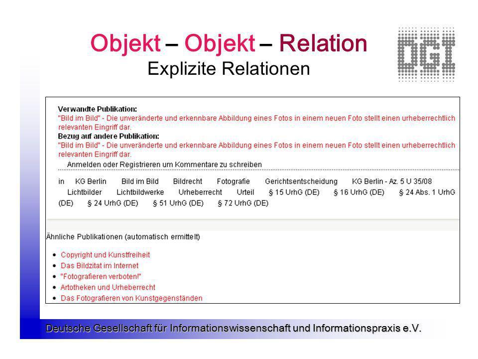 Deutsche Gesellschaft für Informationswissenschaft und Informationspraxis e.V. Objekt – Objekt – Relation Explizite Relationen