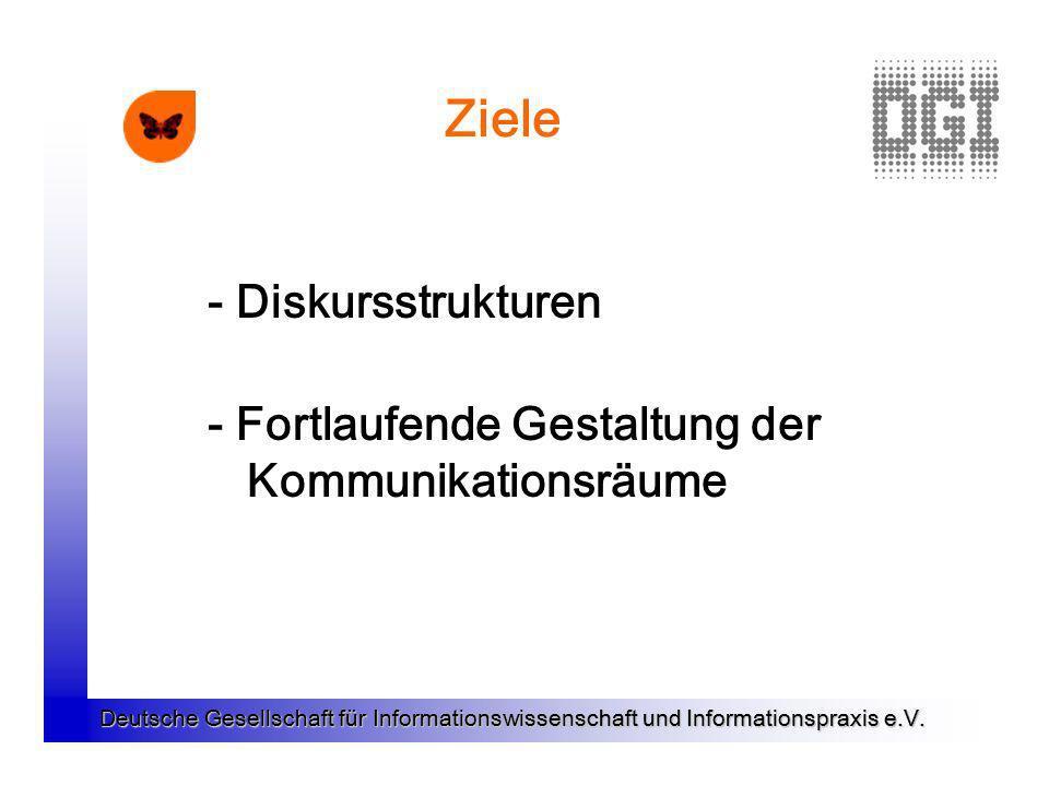 Deutsche Gesellschaft für Informationswissenschaft und Informationspraxis e.V. Ziele - Diskursstrukturen - Fortlaufende Gestaltung der Kommunikationsr