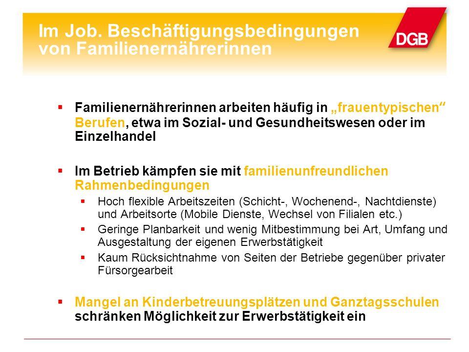 Im Job. Beschäftigungsbedingungen von Familienernährerinnen Familienernährerinnen arbeiten häufig in frauentypischen Berufen, etwa im Sozial- und Gesu