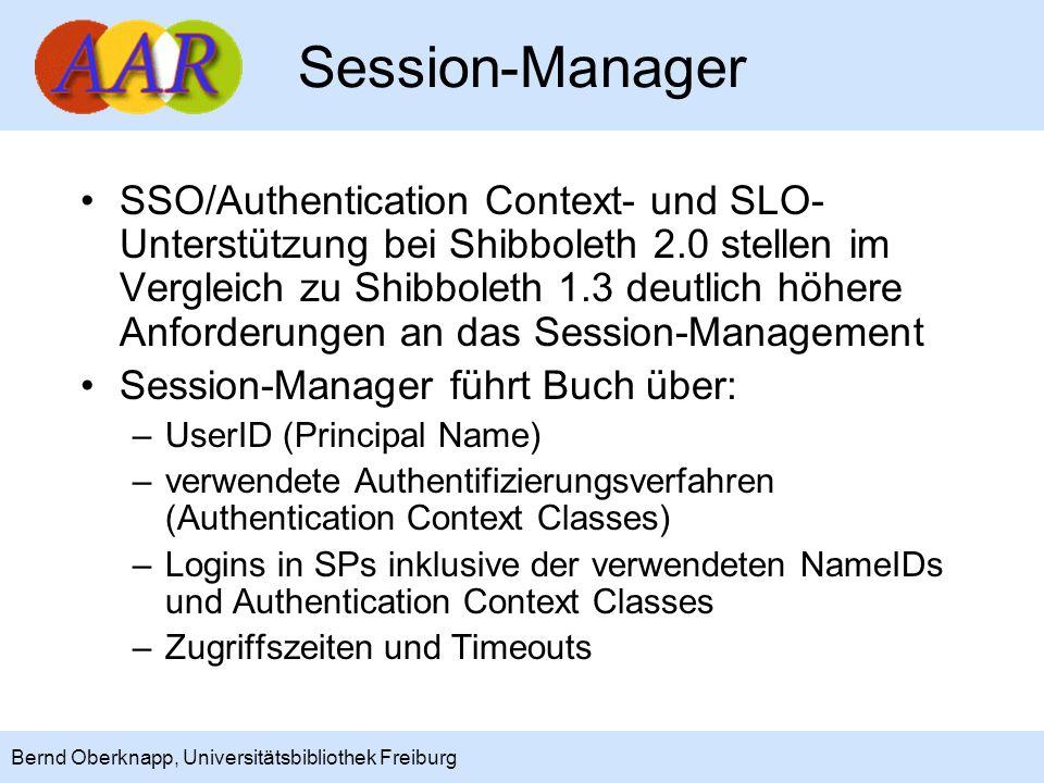 10 Bernd Oberknapp, Universitätsbibliothek Freiburg Session-Manager SSO/Authentication Context- und SLO- Unterstützung bei Shibboleth 2.0 stellen im V