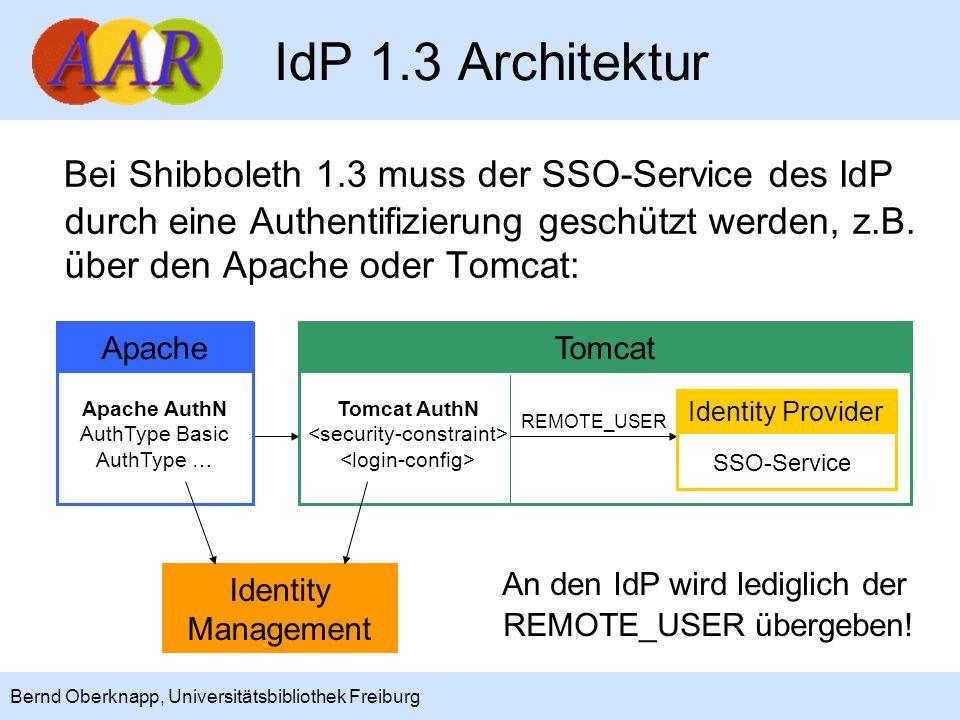 11 Bernd Oberknapp, Universitätsbibliothek Freiburg IdP 1.3 Architektur Bei Shibboleth 1.3 muss der SSO-Service des IdP durch eine Authentifizierung g