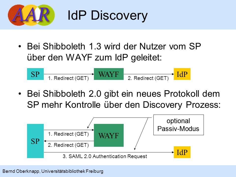 18 Bernd Oberknapp, Universitätsbibliothek Freiburg IdP Discovery Bei Shibboleth 1.3 wird der Nutzer vom SP über den WAYF zum IdP geleitet: SPWAYFIdP