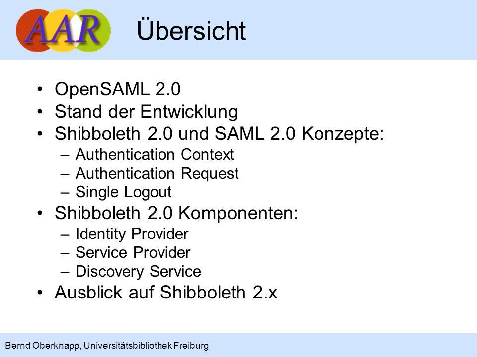 2 Bernd Oberknapp, Universitätsbibliothek Freiburg Übersicht OpenSAML 2.0 Stand der Entwicklung Shibboleth 2.0 und SAML 2.0 Konzepte: –Authentication