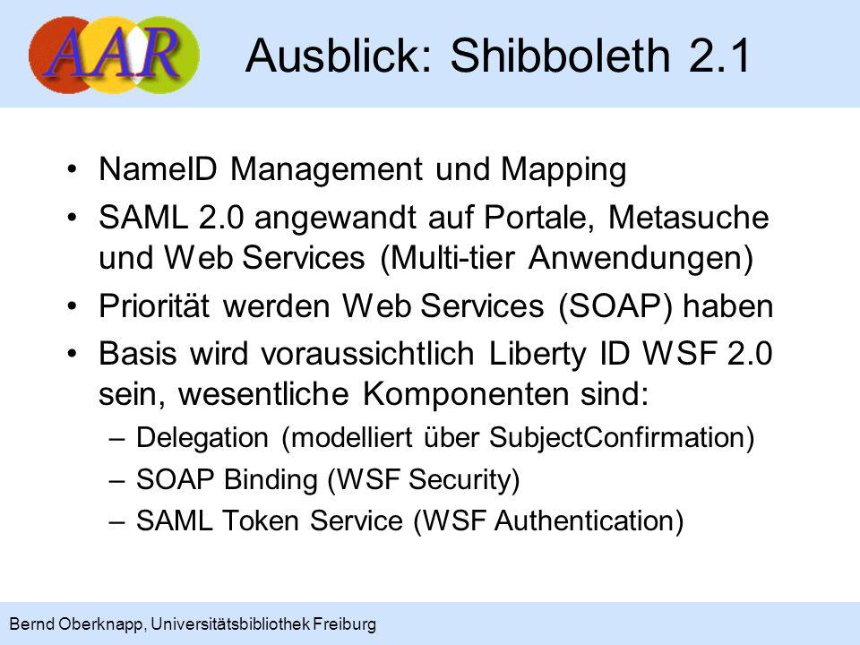 20 Bernd Oberknapp, Universitätsbibliothek Freiburg Ausblick: Shibboleth 2.1 NameID Management und Mapping SAML 2.0 angewandt auf Portale, Metasuche u