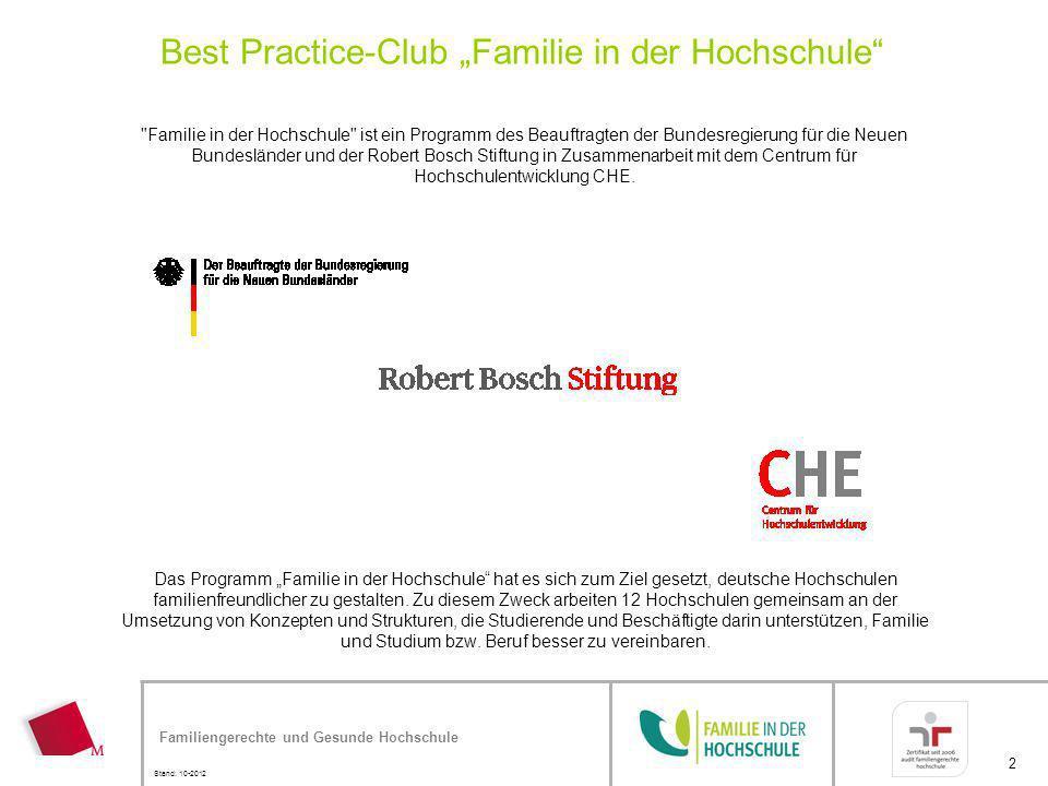 Familiengerechte und Gesunde Hochschule Stand: 10-2012 2 Best Practice-Club Familie in der Hochschule Das Programm Familie in der Hochschule hat es si