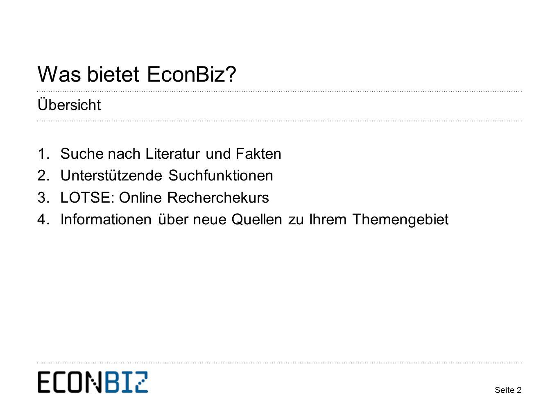 Seite 2 Was bietet EconBiz.
