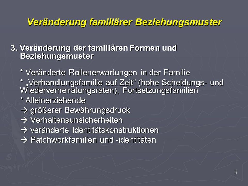 11 Veränderung familiärer Beziehungsmuster 3. Veränderung der familiären Formen und Beziehungsmuster * Veränderte Rollenerwartungen in der Familie * V