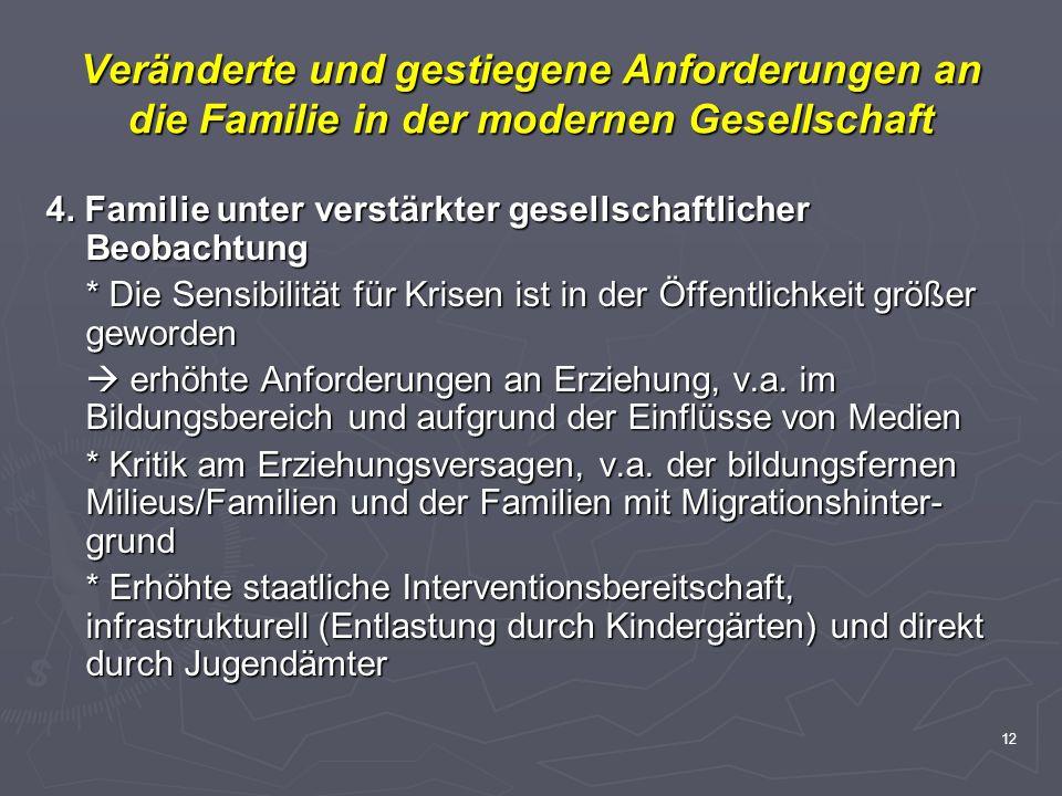 12 Veränderte und gestiegene Anforderungen an die Familie in der modernen Gesellschaft 4. Familie unter verstärkter gesellschaftlicher Beobachtung * D