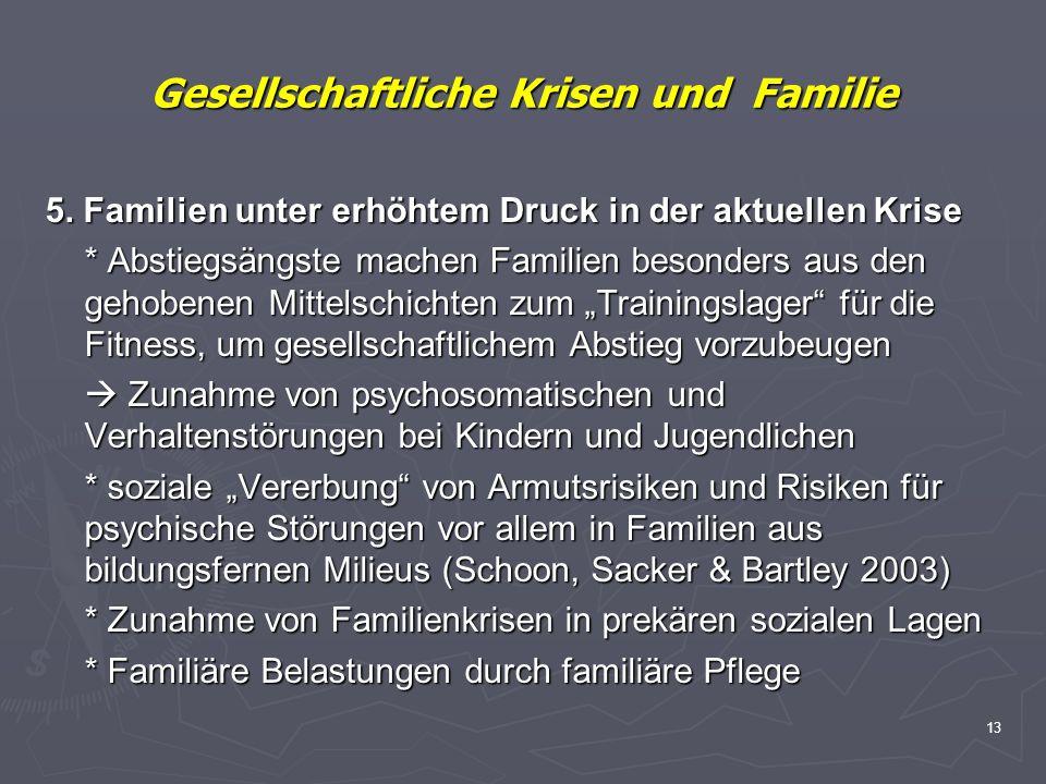 13 Gesellschaftliche Krisen und Familie 5. Familien unter erhöhtem Druck in der aktuellen Krise * Abstiegsängste machen Familien besonders aus den geh