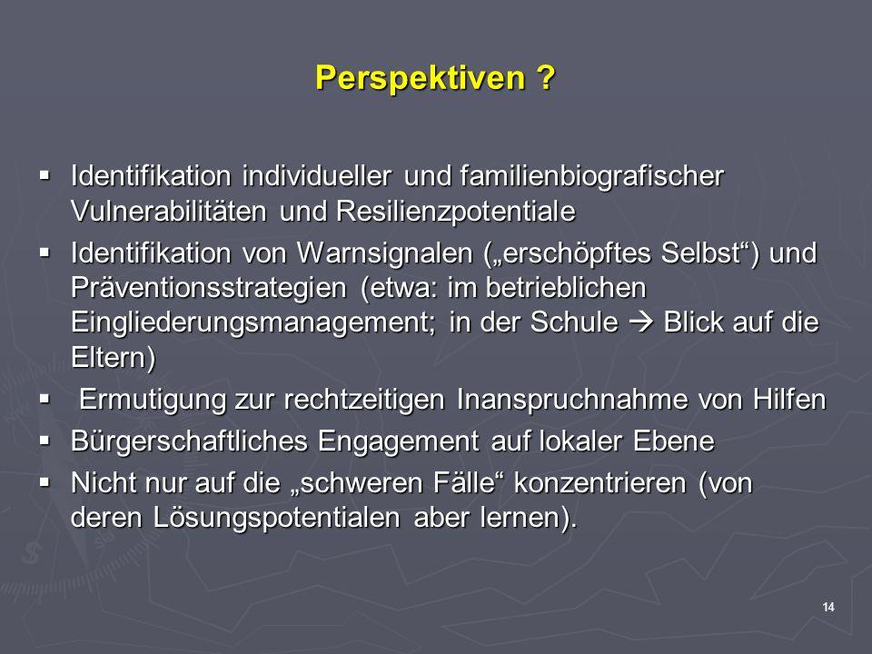 14 Perspektiven ? Identifikation individueller und familienbiografischer Vulnerabilitäten und Resilienzpotentiale Identifikation individueller und fam