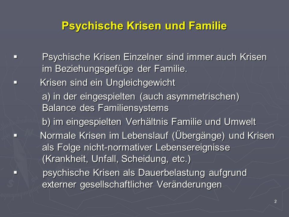 2 Psychische Krisen und Familie Psychische Krisen Einzelner sind immer auch Krisen im Beziehungsgefüge der Familie. Psychische Krisen Einzelner sind i