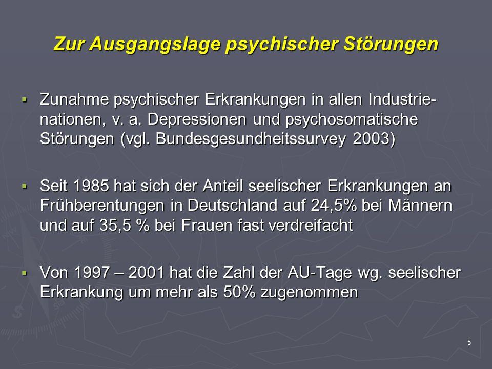 5 Zur Ausgangslage psychischer Störungen Zunahme psychischer Erkrankungen in allen Industrie- nationen, v. a. Depressionen und psychosomatische Störun