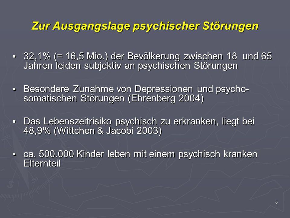 6 Zur Ausgangslage psychischer Störungen 32,1% (= 16,5 Mio.) der Bevölkerung zwischen 18 und 65 Jahren leiden subjektiv an psychischen Störungen 32,1%