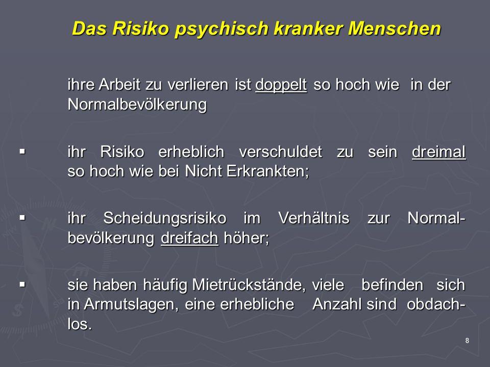 8 Das Risiko psychisch kranker Menschen Das Risiko psychisch kranker Menschen ihre Arbeit zu verlieren ist doppelt so hoch wie in der Normalbevölkerun