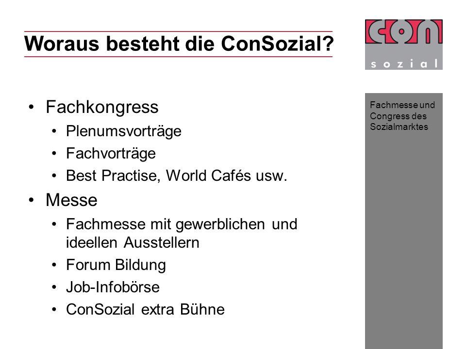 Fachmesse und Congress des Sozialmarktes Fachkongress Plenumsvorträge Fachvorträge Best Practise, World Cafés usw. Messe Fachmesse mit gewerblichen un
