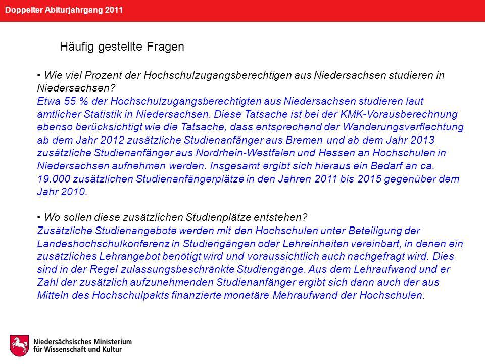 Doppelter Abiturjahrgang 2011 Häufig gestellte Fragen Wie viel Prozent der Hochschulzugangsberechtigen aus Niedersachsen studieren in Niedersachsen? E