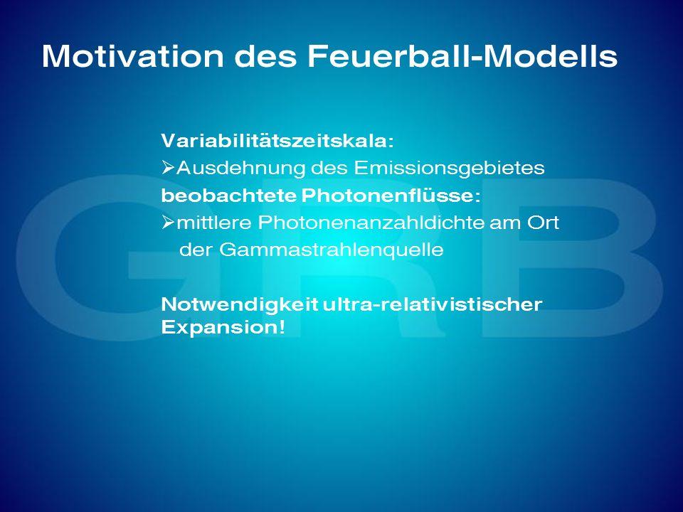 Motivation des Feuerball-Modells Variabilitätszeitskala: Ausdehnung des Emissionsgebietes beobachtete Photonenflüsse: mittlere Photonenanzahldichte am