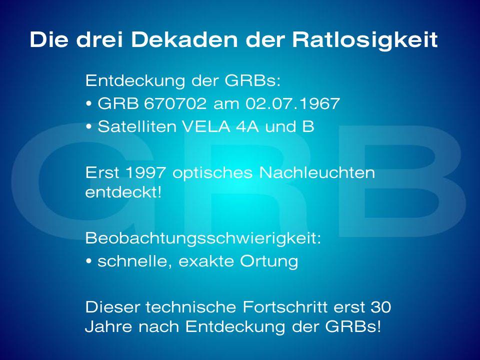 Die drei Dekaden der Ratlosigkeit Entdeckung der GRBs: GRB 670702 am 02.07.1967 Satelliten VELA 4A und B Erst 1997 optisches Nachleuchten entdeckt! Be